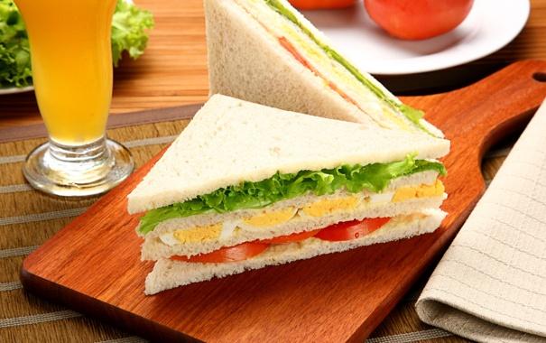 Фото обои яйцо, хлеб, бутерброд, помидор, слои, салат