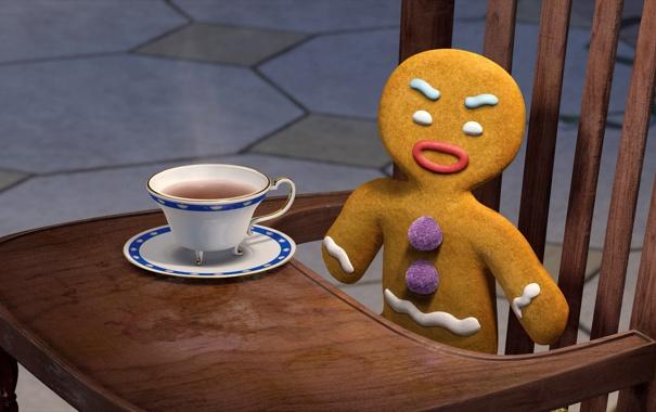 Фото обои чай, настроения, шрек, печенька, пряник, пряня