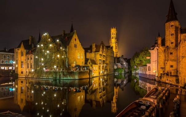 Фото обои небо, ночь, огни, дома, канал, Бельгия, Брюгге