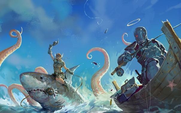 Фото обои море, лодка, робот, акула, арт, осьминог