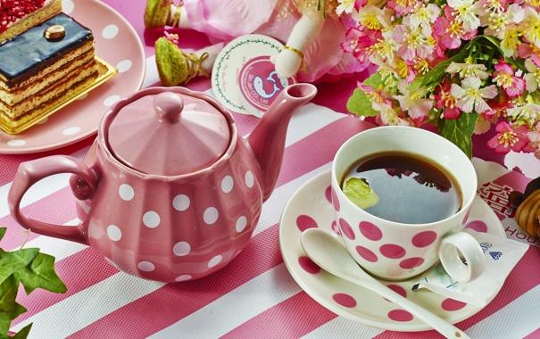 Фото обои цветы, чай, чайник, торт, посуда