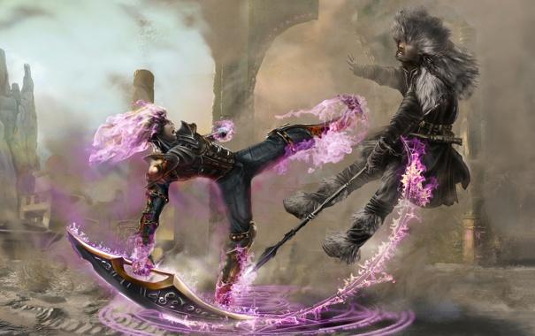 Фото обои магия, Воин, удар, маг, копье, пентаграмма, клинок