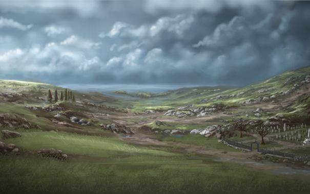 Фото обои море, пейзаж, тучи, озеро, камни, холмы, крест