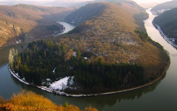 Фото обои снег, река, изгиб, германия, европа, саар, метлах