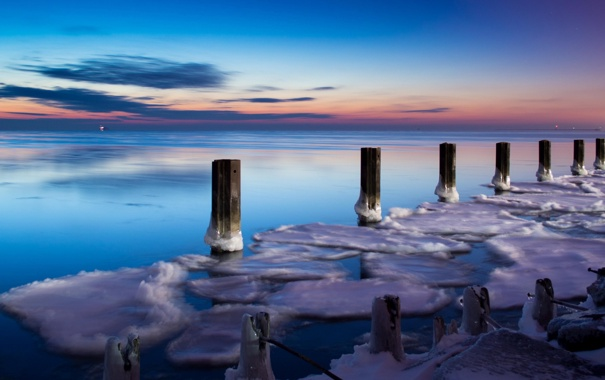 Фото обои море, пейзаж, закат, опоры