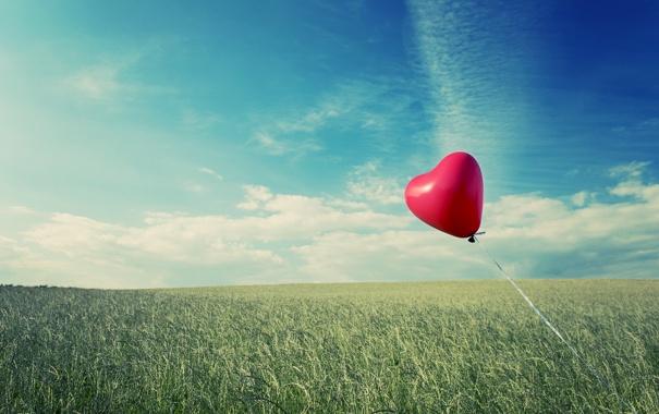 Фото обои зелень, небо, трава, облака, природа, настроения, сердце