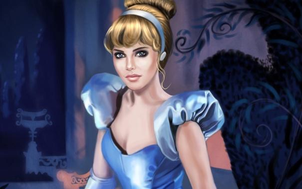 Фото обои взгляд, девушка, мультфильм, прическа, золушка, дисней, голубое платье
