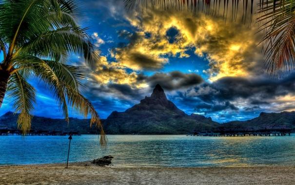 Фото обои море, пейзаж, пальмы, фото, гора, Beach, Bora