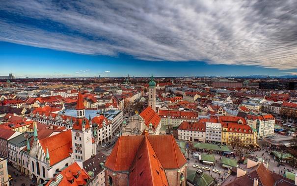 Фото обои здания, Германия, Мюнхен, крыши, Бавария, панорама, Germany