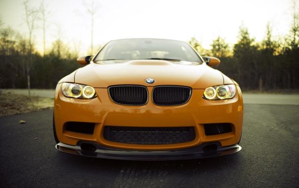Фото обои оранжевый, BMW, БМВ, передок, ангельские глазки, orange, e92