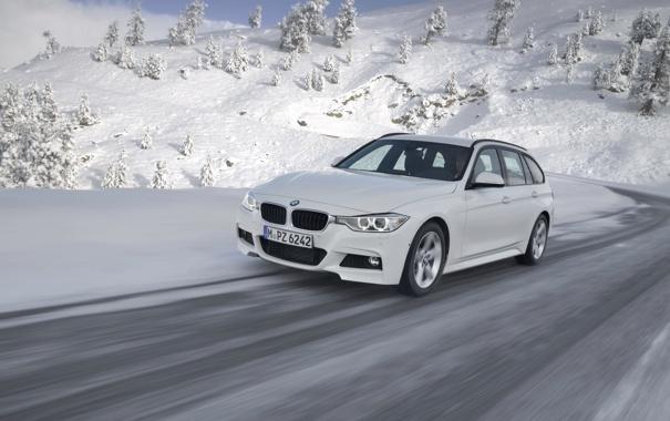 Фото обои Передок, Снег, 320d, BMW, Белый, Зима, Универсал