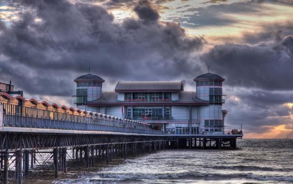Фото обои море, закат, мост, Weston-Super-Mare Pier in HDR