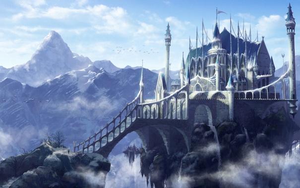Фото обои облака, мост, замок, скалы, высота, гора, арт