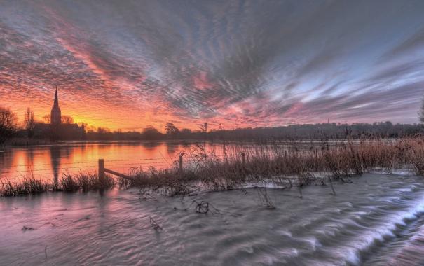 Фото обои sunrise, Wiltshire, Salisbury, floods, Salisbury Cathedral