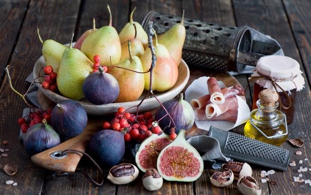 Фото обои масло, орех, груша, бекон, инжир