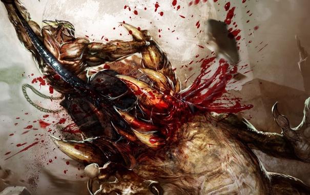 Фото обои кишки, кровь, Splatterhouse, монстры