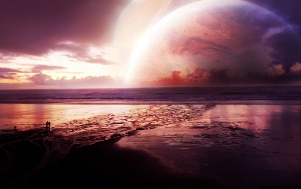 Фото обои море, пляж, люди, отдых, планеты, вечер, арт
