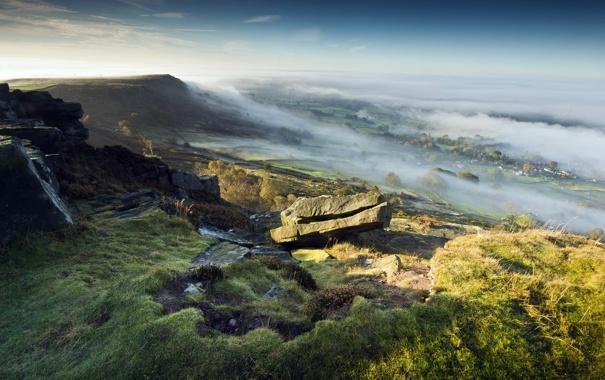 Фото обои пейзаж, туман, гора