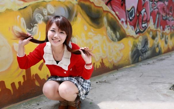Фото обои девушка, настроение, азиатка