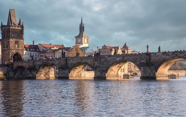 Фото обои небо, дома, Чехия, Карлов мост, башня, Прага