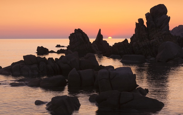 Фото обои море, закат, скалы, морской пейзаж, Сардиния