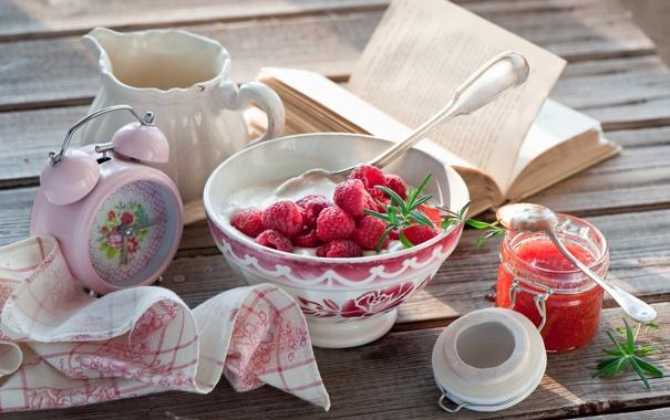 Фото обои завтрак, джем, творог, малина