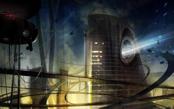 Фото обои небо, город, будущее, дороги, корабли, труба, выброс