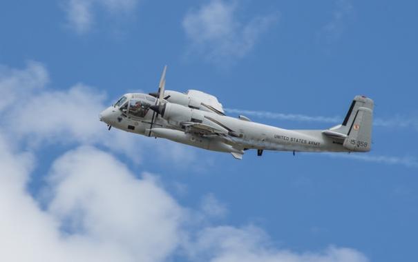 Фото обои небо, полет, самолёт, Grumman, ударный, разведывательный, «Мохаук»