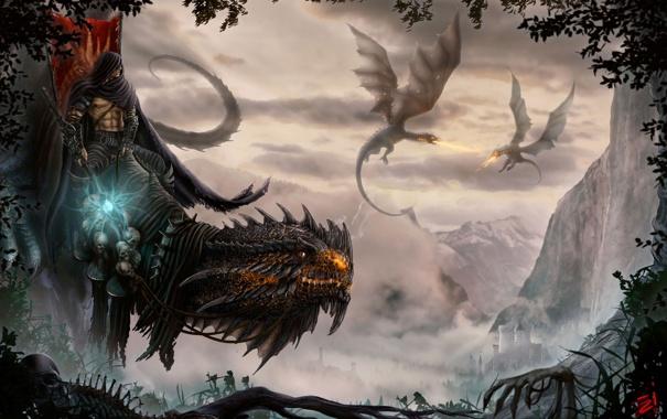 Фото обои деревья, горы, замок, магия, листва, череп, драконы