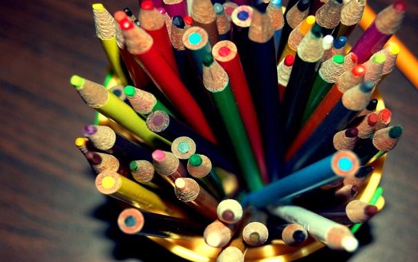 Фото обои макро, цветные, карандаши
