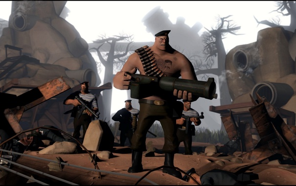 Фото обои Team Fortress 2, war, heavy, russian