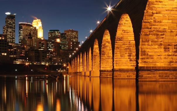 Фото обои Миссисипи, город, река, мост, Миннеаполис