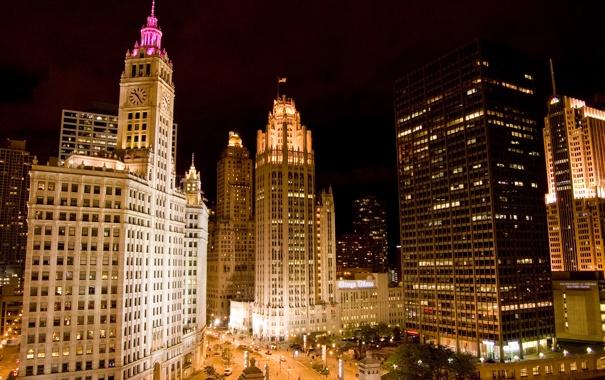 Фото обои ночь, огни, небоскребы, чикаго, Chicago