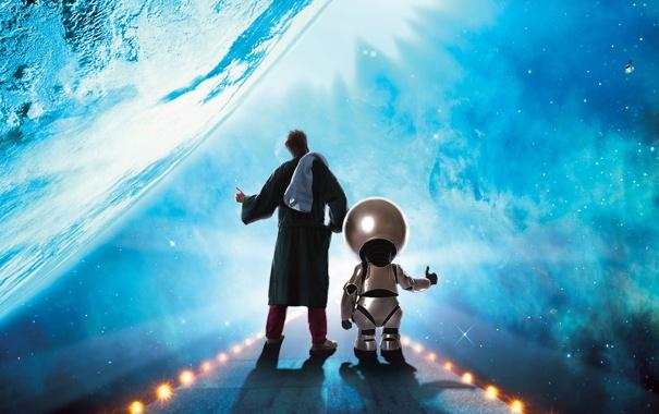 Фото обои робот, галактика, автостоп, артур, марвин