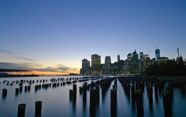 Фото обои New York, Fulton Ferry