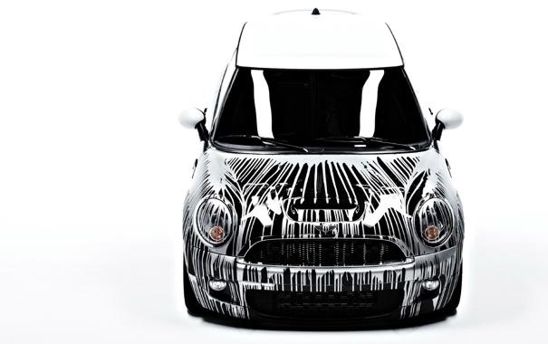 Фото обои Mini, мини, тачки, белый фон, cars, auto wallpapers, авто обои