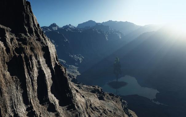 Фото обои небо, лучи, свет, скала, озеро, камни, дерево