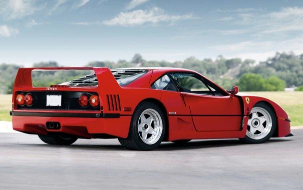 Фото обои деревья, красный, фон, Феррари, Ferrari, суперкар, F40