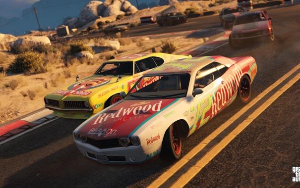 Фото обои дорога, машины, гонка, Grand Theft Auto 5