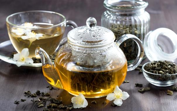 Фото обои зеленый, чай, чайник, напиток, заварник, жасмин