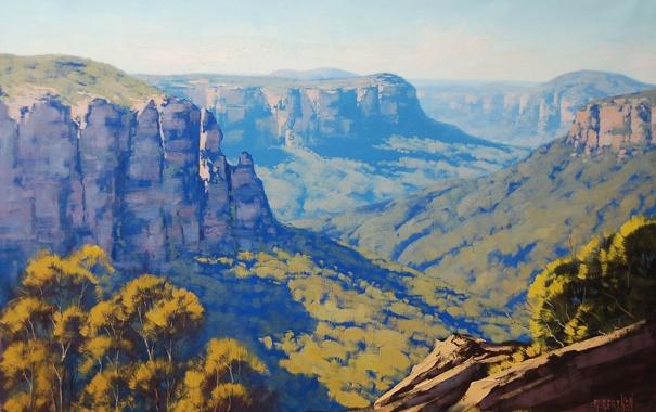 Фото обои АРТ, ЛЕС, РИСУНОК, ARTSAUS, BLUE MOUNTAINS AUSTRALIA