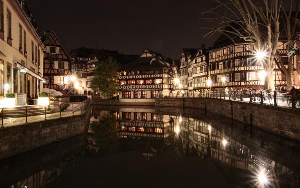 Фото обои вода, ночь, город, огни, отражение, улица, Франция