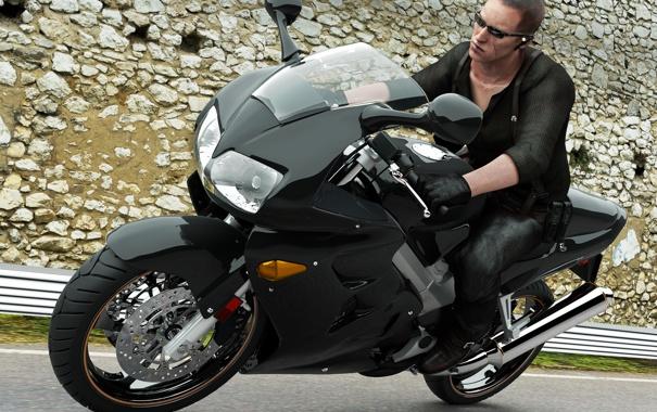 Фото обои асфальт, камни, черное, очки, мотоцикл, мужчина, Resident Evil