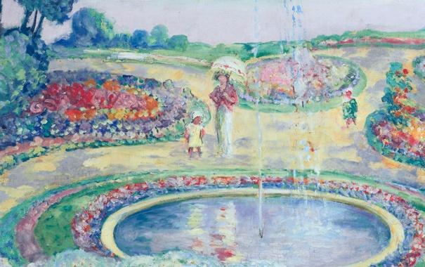 Фото обои пейзаж, парк, картина, фонтан, жанровая, Анри Лебаск, Flowering Garden