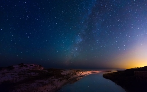 Фото обои небо, вода, звезды, пейзаж, ночь, отражение, река
