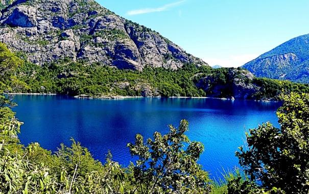 Фото обои деревья, горы, озеро, скалы, Аргентина, Moreno Lake