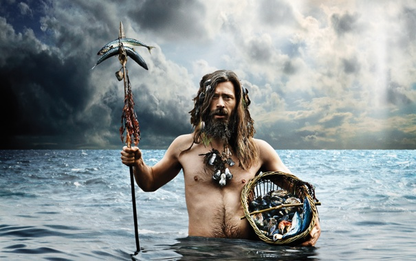 Фото обои sea, man, fishing