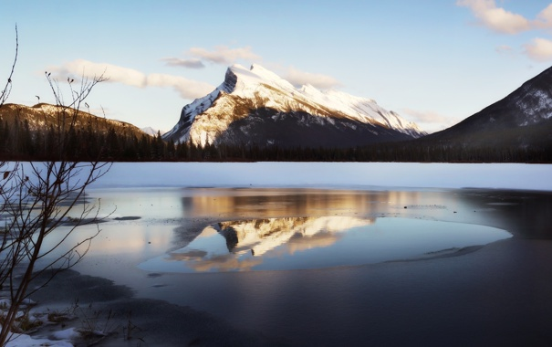 Фото обои лед, зима, свет, снег, пейзаж, закат, горы