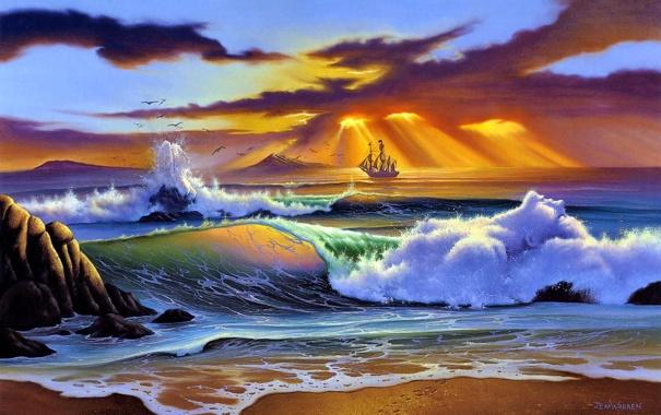 Фото обои море, закат, живопись, Jim Warren