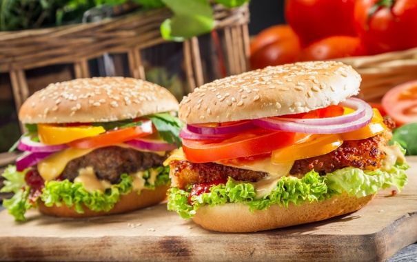 Фото обои макро, еда, Closeup of two homemade burgers made from fresh vegetables